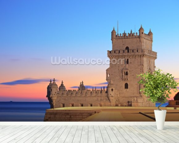 Lisbon - Tower of Belem at Sunset mural wallpaper room setting