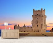 Lisbon - Tower of Belem at Sunset mural wallpaper living room preview