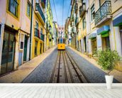 Lisbon Old Town and Tram wall mural in-room view