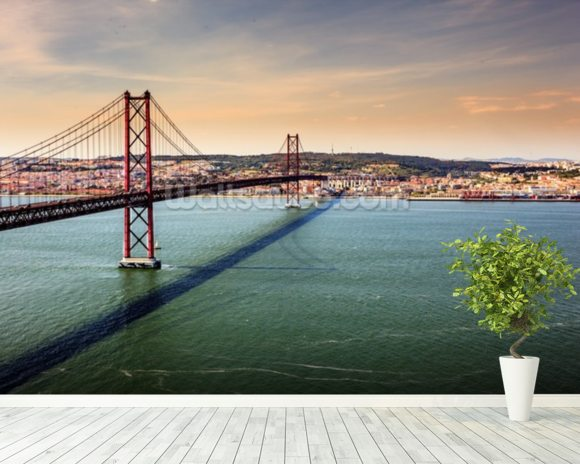 Lisbon, Bridge of 25th of April wallpaper mural room setting