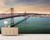 Lisbon, Bridge of 25th of April wallpaper mural living room preview