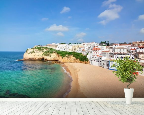 Algarve - Carvoeiro Beach wallpaper mural room setting