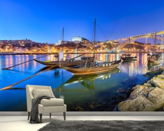 Porto at Night wallpaper mural