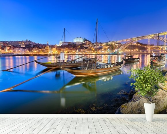 Porto at Night wallpaper mural room setting