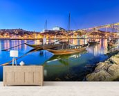 Porto at Night wallpaper mural living room preview