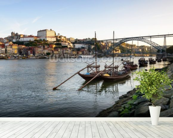 River Douro, Porto mural wallpaper room setting