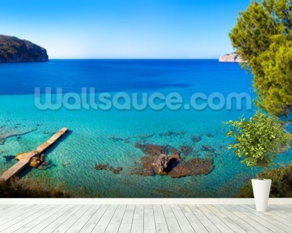 Idyllic Mallorca Sea View wallpaper mural room setting