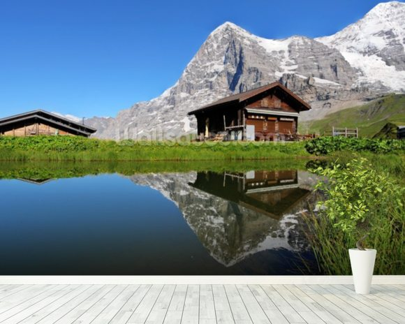 Eiger View wall mural room setting