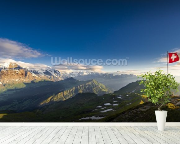 Swiss Alps mural wallpaper room setting