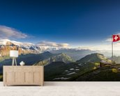 Swiss Alps mural wallpaper living room preview