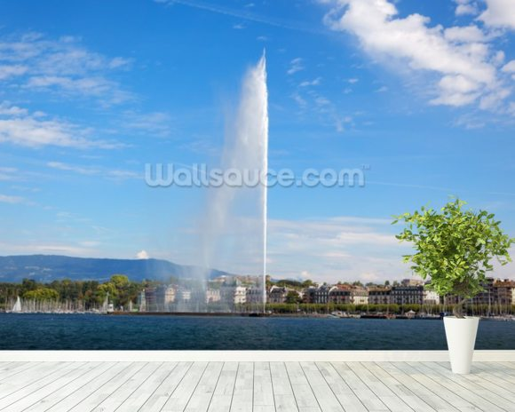 Lake Geneva Water Jet wall mural room setting