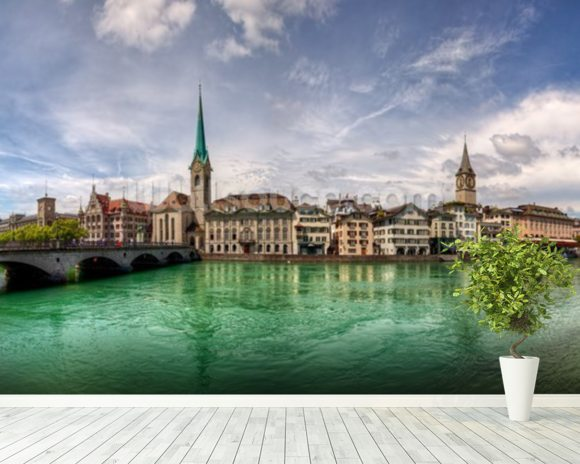 Zürich Skyline mural wallpaper room setting