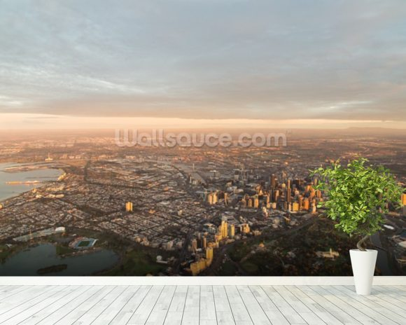Aerial View of Melbourne wallpaper mural room setting