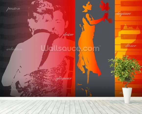 Argentine Tango mural wallpaper room setting