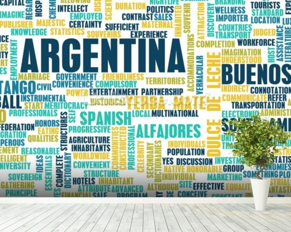 Argentina World Cloud wall mural room setting