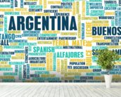 Argentina World Cloud wall mural in-room view