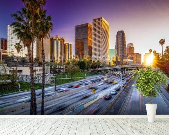 Los Angeles Downtown at Sunset wall mural room setting