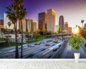 Los Angeles Downtown at Sunset wall mural in-room view