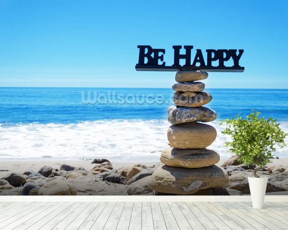 Be Happy wall mural room setting