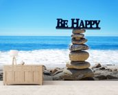 Be Happy wall mural living room preview