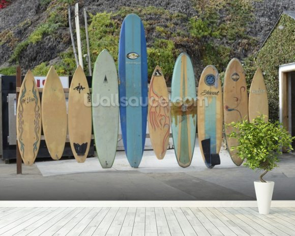 Malibu Surfboards wallpaper mural room setting
