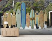 Malibu Surfboards wallpaper mural living room preview