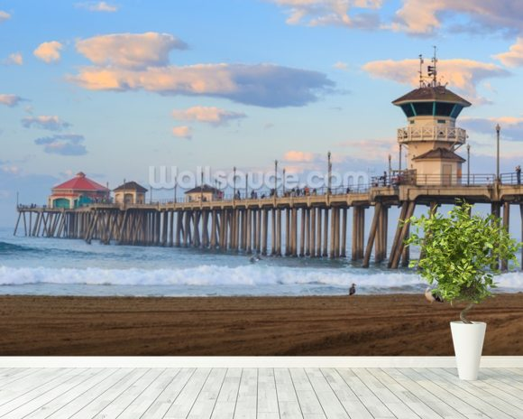 Huntington Beach Pier wallpaper mural room setting