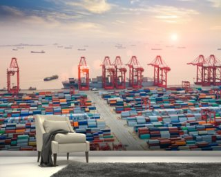 Port of Shanghai Containers Wall Mural Wall Murals Wallpaper