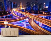 Shanghai Overpass mural wallpaper living room preview