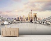 Cityscape mural wallpaper living room preview