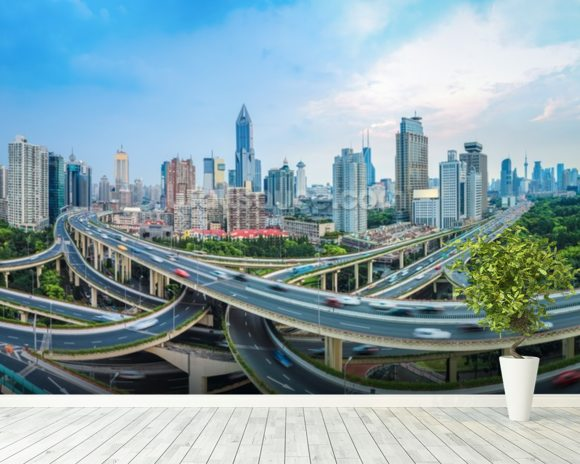 Shanghai City Roads mural wallpaper room setting