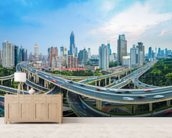 Shanghai City Roads mural wallpaper living room preview