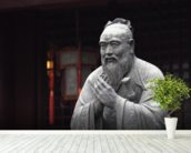 Statue of Confucius wall mural in-room view