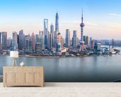 Shanghai Skyline Panoramic wall mural living room preview