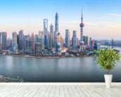Shanghai Skyline Panoramic wall mural in-room view