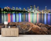 Brisbane Night Reflections wallpaper mural living room preview