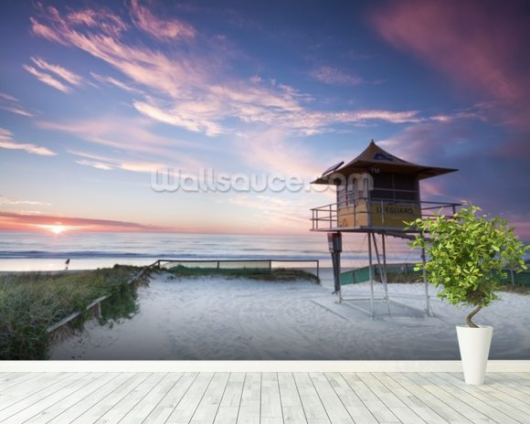 Gold Coast Lifeguard Hut mural wallpaper room setting