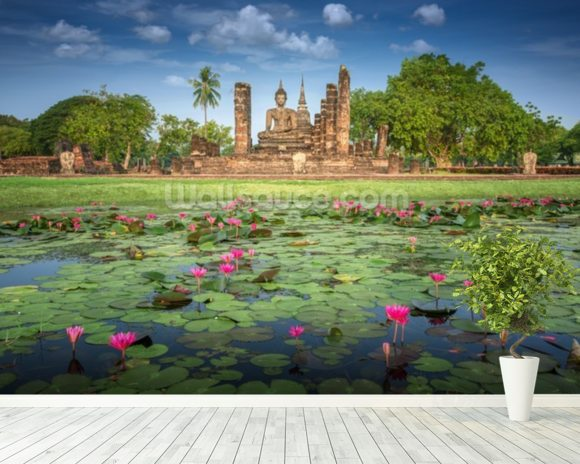 Sukhothai Temple mural wallpaper room setting