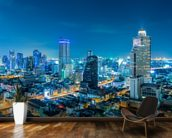 Bangkok Cityscape at Night mural wallpaper kitchen preview