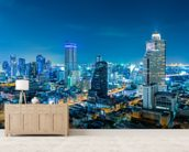 Bangkok Cityscape at Night mural wallpaper living room preview
