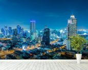 Bangkok Cityscape at Night mural wallpaper in-room view