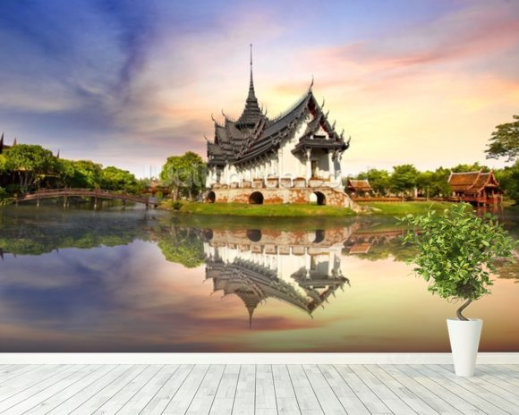Thailand - Sanphet Prasat Palace wall mural room setting