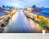 Bangkok Floating Markets wall mural in-room view
