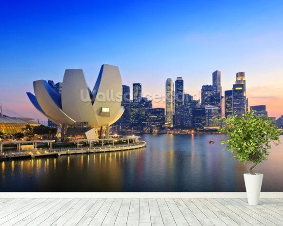 Singapore Skyline mural wallpaper room setting