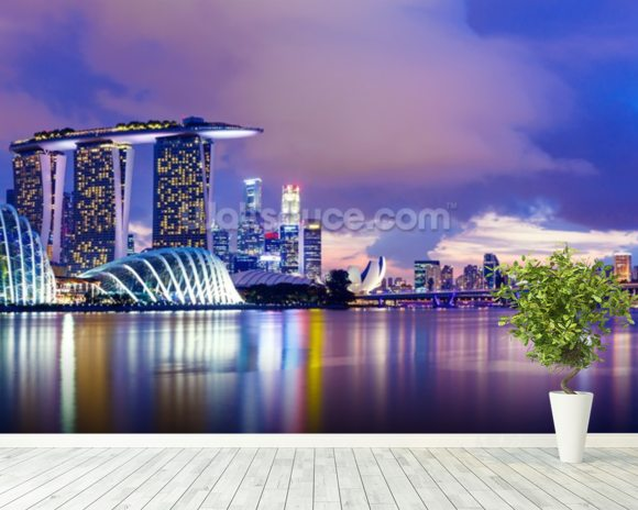 Singapore Skyline at Night wall mural room setting