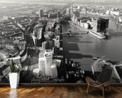 Düsseldorf Ariel View in Black & White wall mural kitchen preview