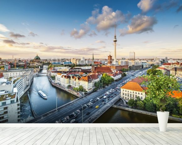 Berlin Afternoon Cityscape mural wallpaper room setting