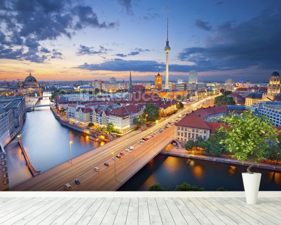Berlin Evening Skyline mural wallpaper room setting