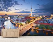 Berlin Evening Skyline mural wallpaper living room preview