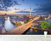 Berlin Evening Skyline mural wallpaper in-room view